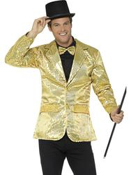 Gold Sequin Jacket Men's Cabaret Carnival Fancy Dress Adult Circus Costume Coat