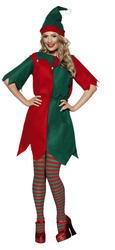 Elf Ladies Fancy Dress Christmas Womens Santas Little Helper Adults Costume