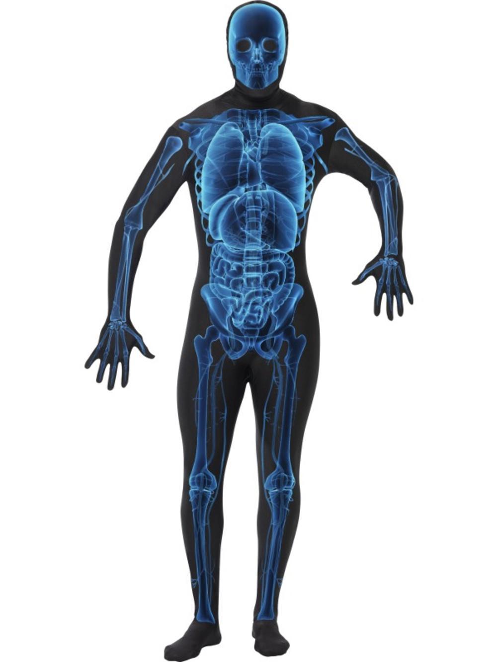 X Ray Skeleton 2nd Skin Suit Halloween Lycra Bodysuit Fancy Dress Mens Costume