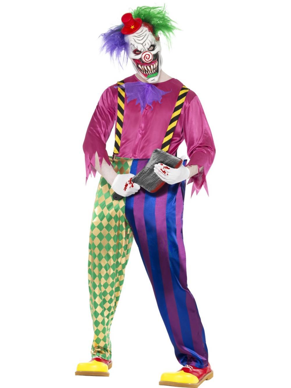 Colorful Killer Clown Mens Fancy Dress Halloween Horror Circus Adults Costume