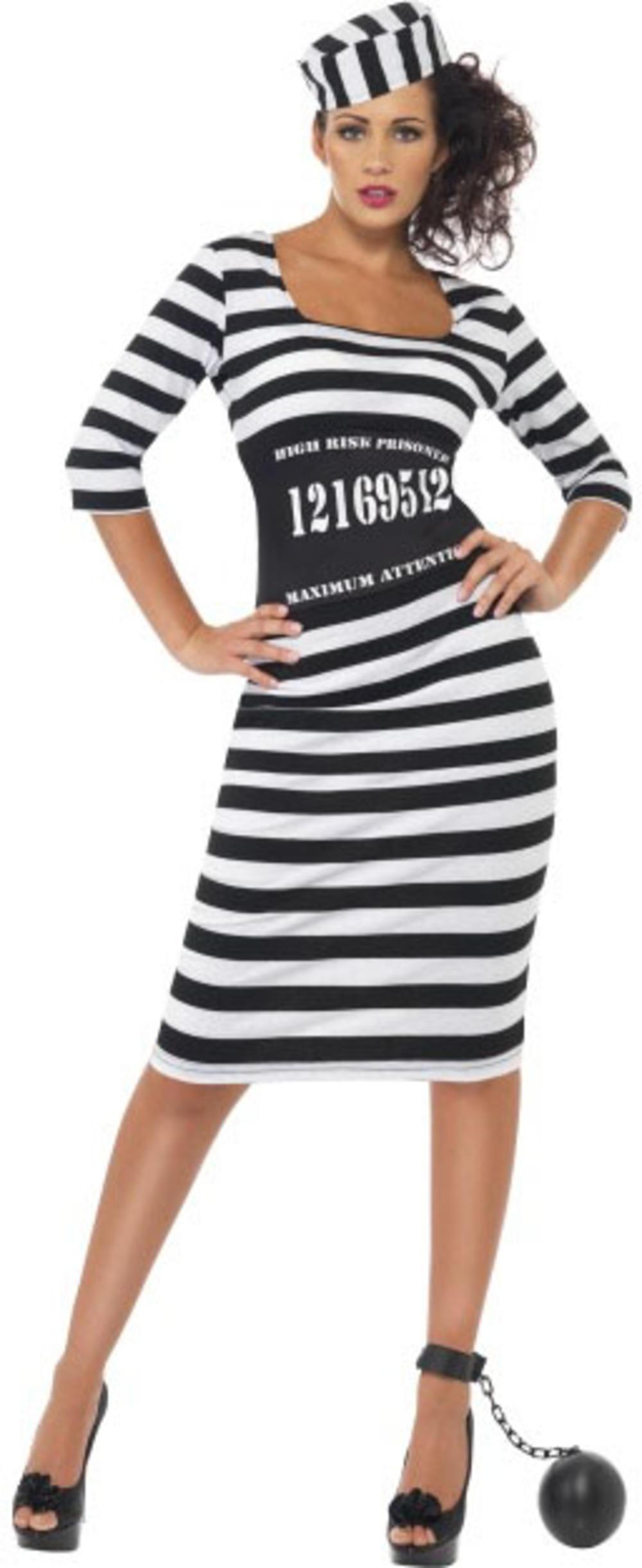 Sexy Classy Convict Ladies Cops & Robbers Prisoner Hen Party Fancy Dress Costume
