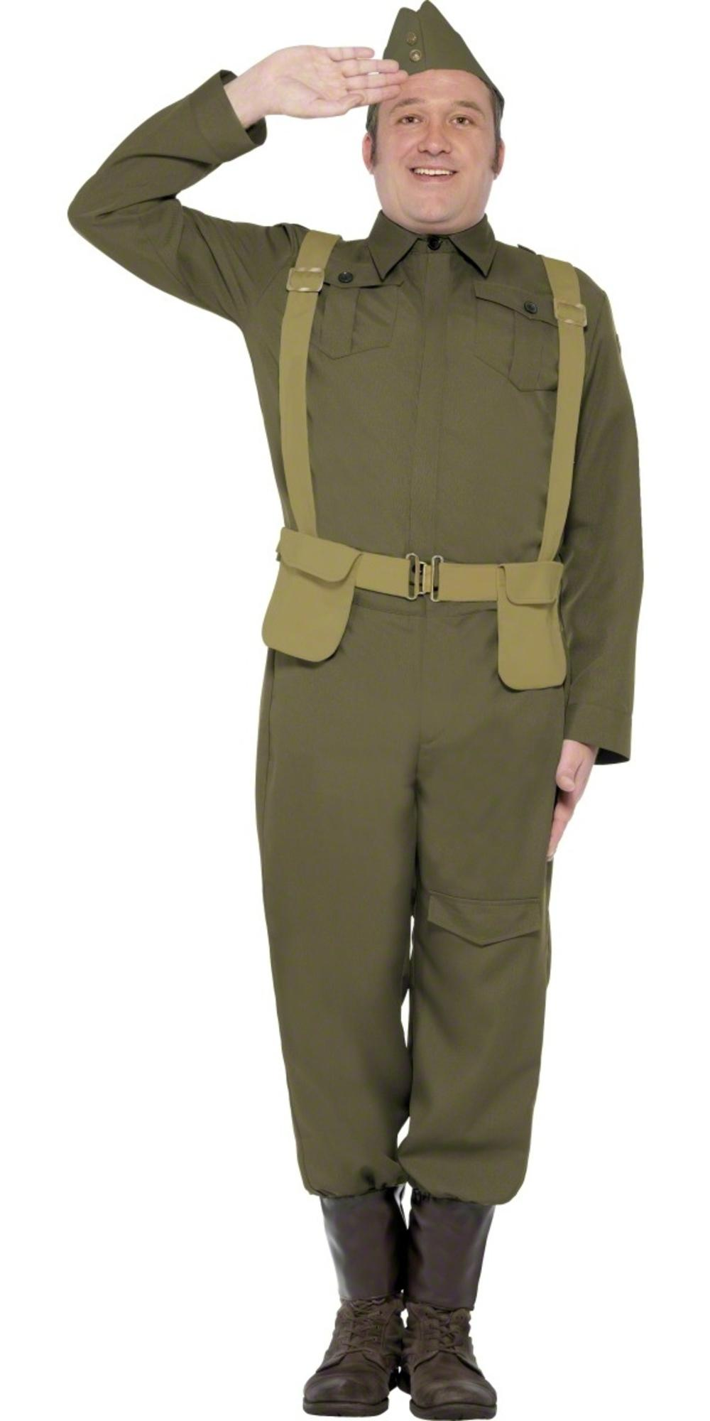 Home Guard Private Mens Fancy Dress 1940s WW2 Dads Army Military Adults Costume