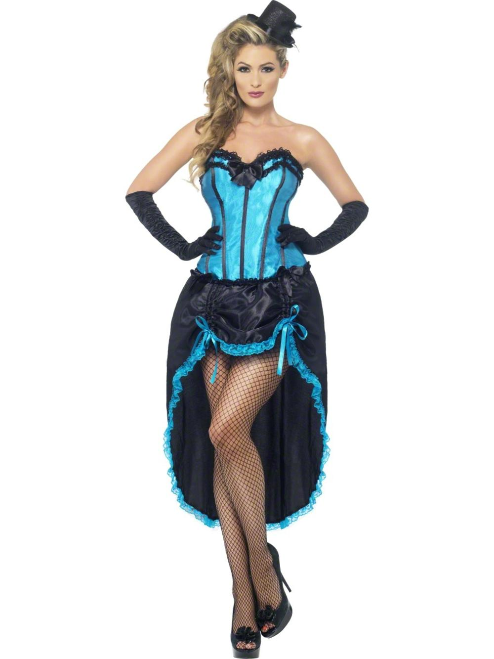 Blue Burlesque Dancer Ladies Fancy Dress Salloon Can Can Adults Costume Outfit