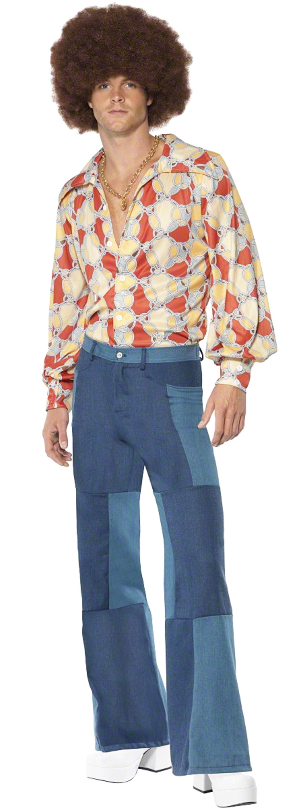1970s Disco Flares + Shirt Fancy Dress Mens 70s Costume Adult Seventies Outfit