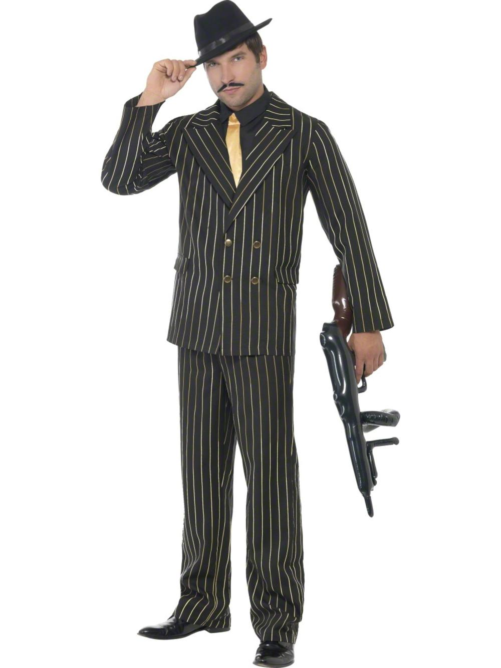 Gold Pinstripe Gangster Suit Mens Fancy Dress 1920s Mafia Adults Costume Outfit