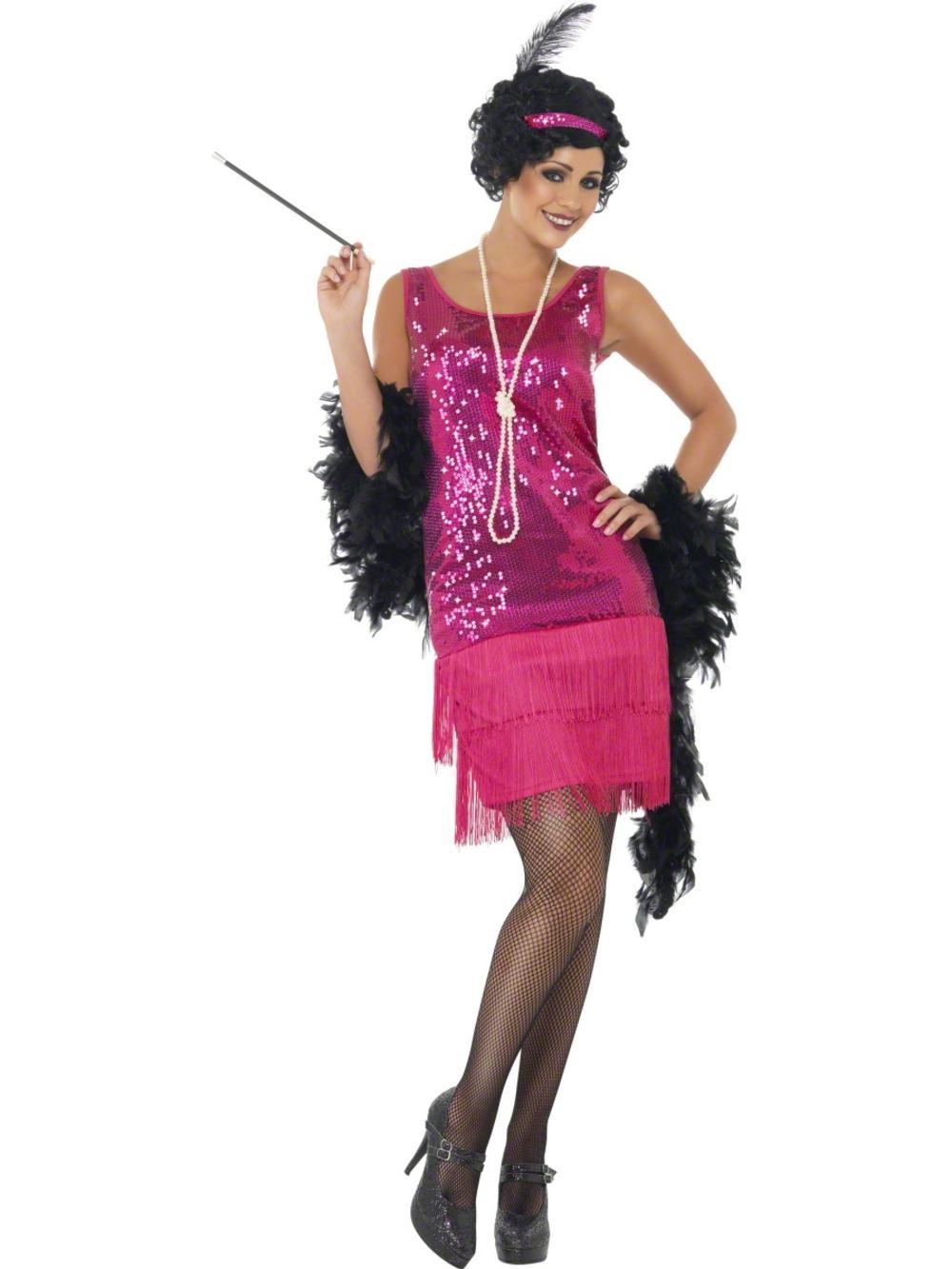 Hot Pink Funtime Flapper Fancy Dress Ladies 1920s Charleston Womens Costume 8-22