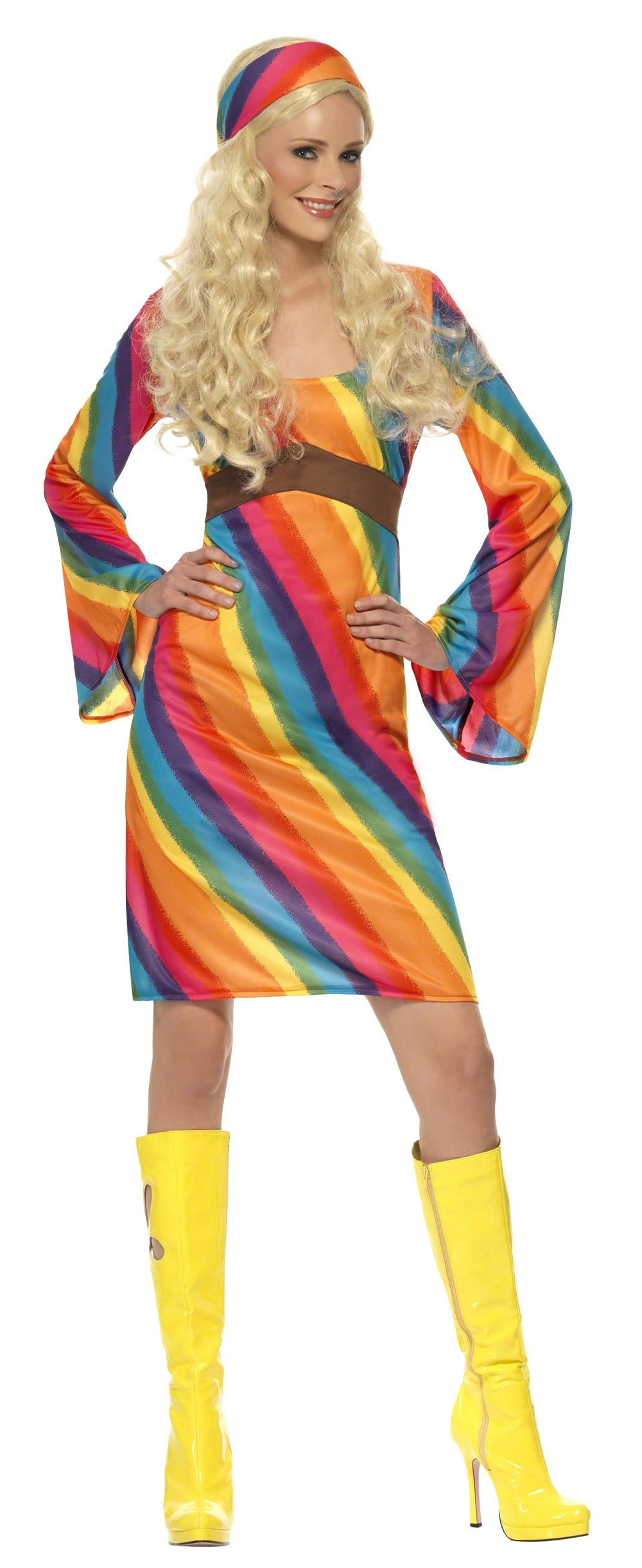 60s Rainbow Hippie Ladies Fancy Dress 70s Groovy Hippy adults Costume Outfit
