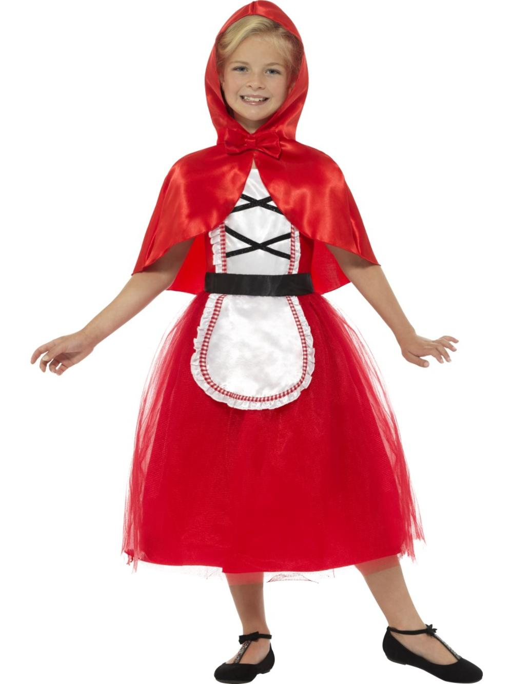 Deluxe Red Riding Hood Girls Fancy Dress Fairy Tale Book Day Childs Kids Costume