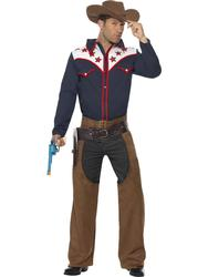 Rodeo Cowboy + Hat Mens Fancy Dress Wild West Western Texas Adult Costume Outfit