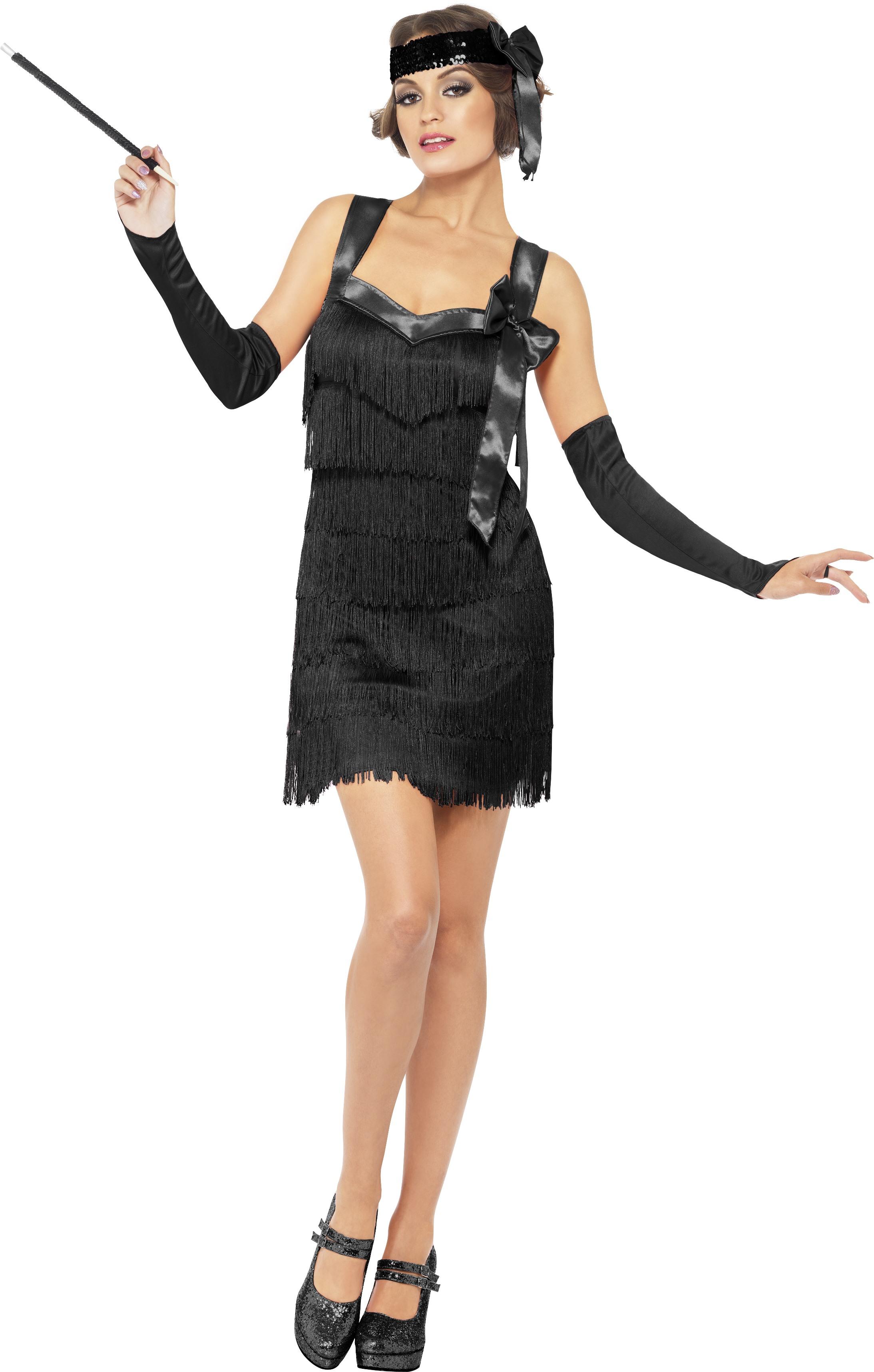 WOMAN/'S BLACK SHOWTIME FLAPPER EVENING PARTY DRESS FANCY DRESS 1920S CHARLESTON