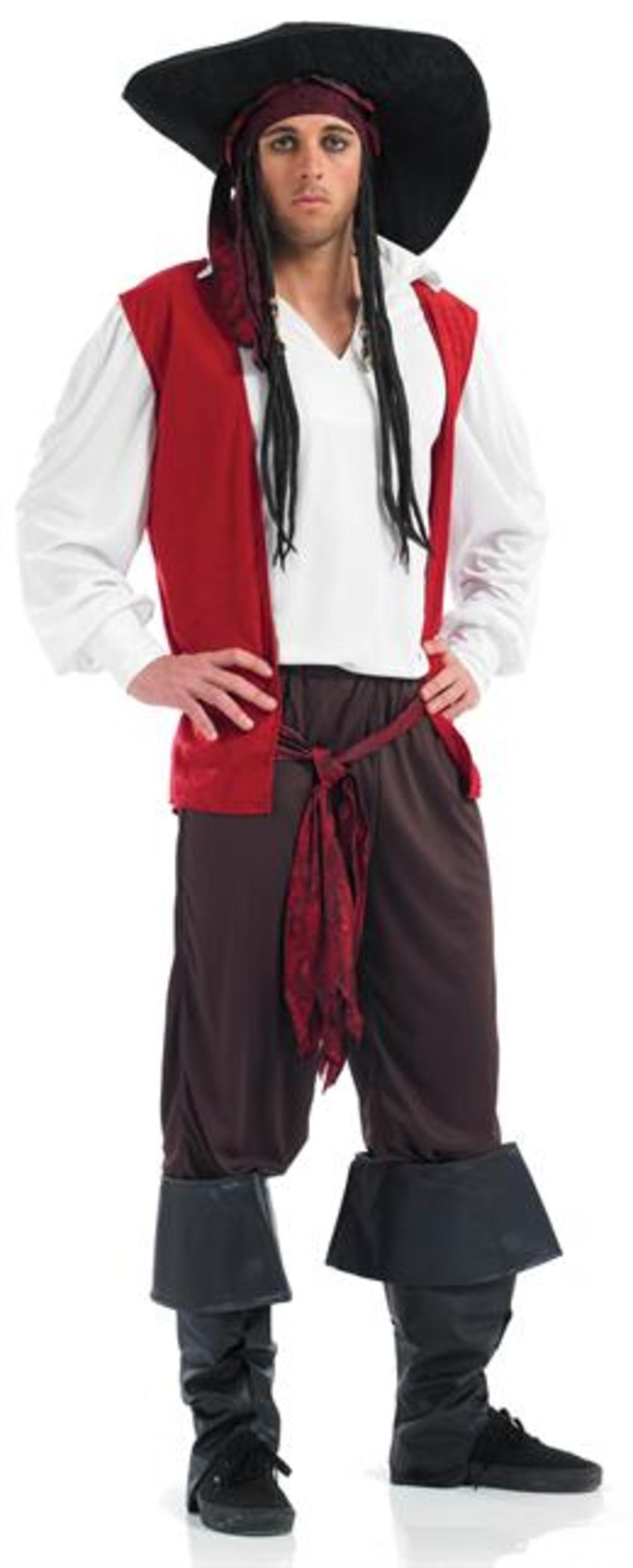 Caribbean Pirate Man + Hat Mens Fancy Dress Sea Buccaneer Adults Costume Outfit
