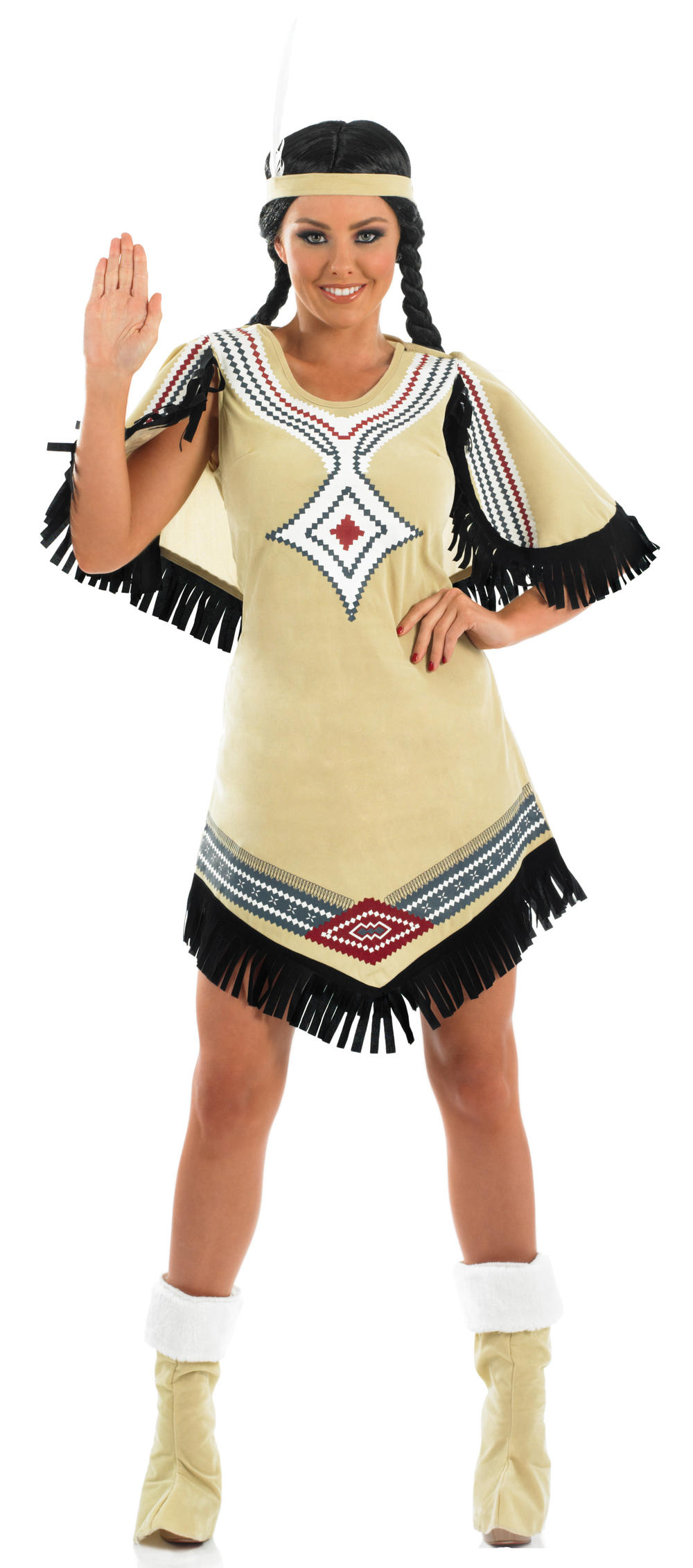 Indian Scout Ladies Western Fancy Dress Native American Red Indian Costume 6-22