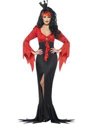 Evil Queen Halloween Fancy Dress Ladies Vampire Womens Costume Outfit UK 8-16