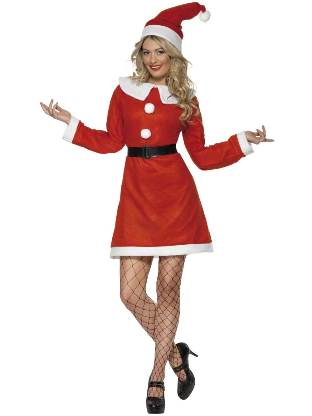 Miss Santa Claus Ladies Christmas Fancy Dress Xmas Holiday Costume Outfit + Hat