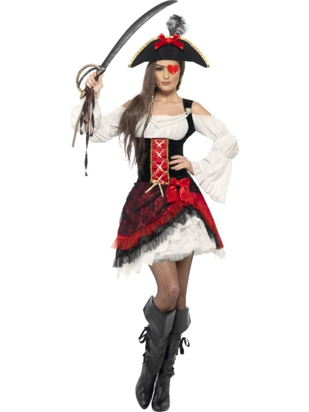 Deluxe Glamorous Pirate Ladies Fancy Dress Caribbean Buccaneer Adults Costume