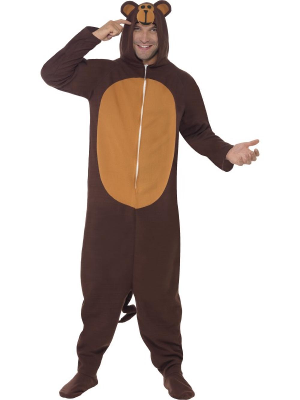 Monkey Adults Mens Fancy Dress Ape Chimp Animal Jungle Jumpsuit Costume Outfit