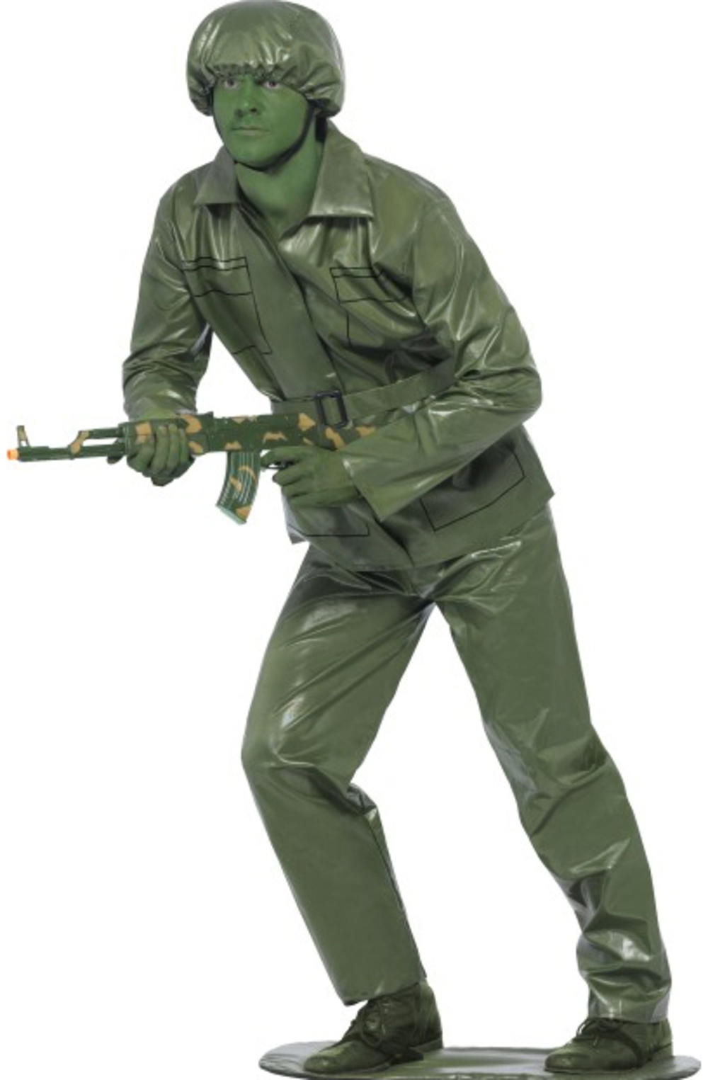 Green Toy Soldier Mens Fancy Dress Toy Story Army Uniform Adults Costume Outfit