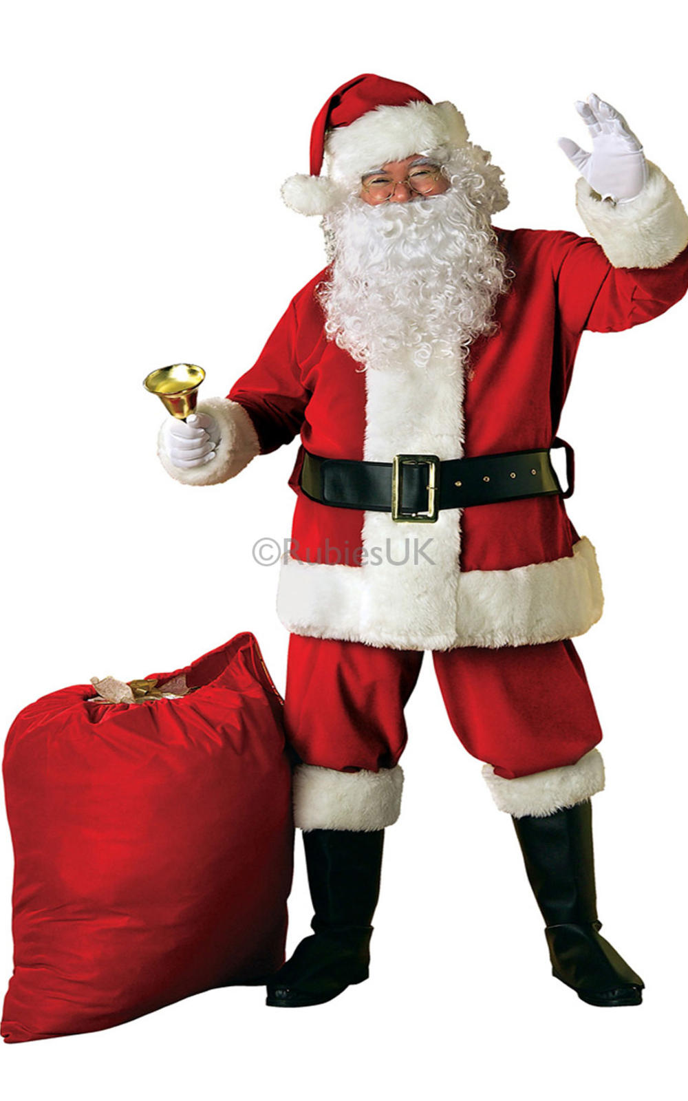 Deluxe Velvet Santa Claus Father Christmas Mens Fancy Dress Adult Costume Outfit