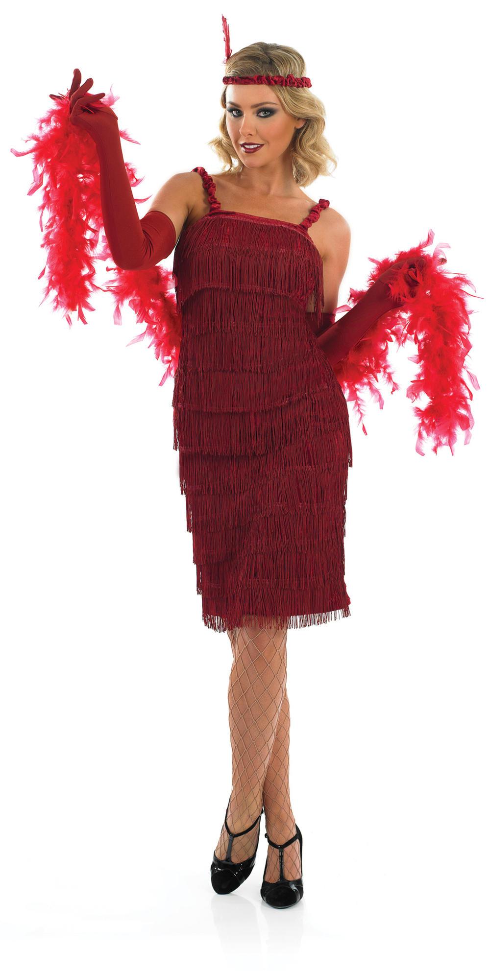 Red Flapper Girl Ladies Fancy Dress Roaring 20s Charleston Gatsby Adults Costume