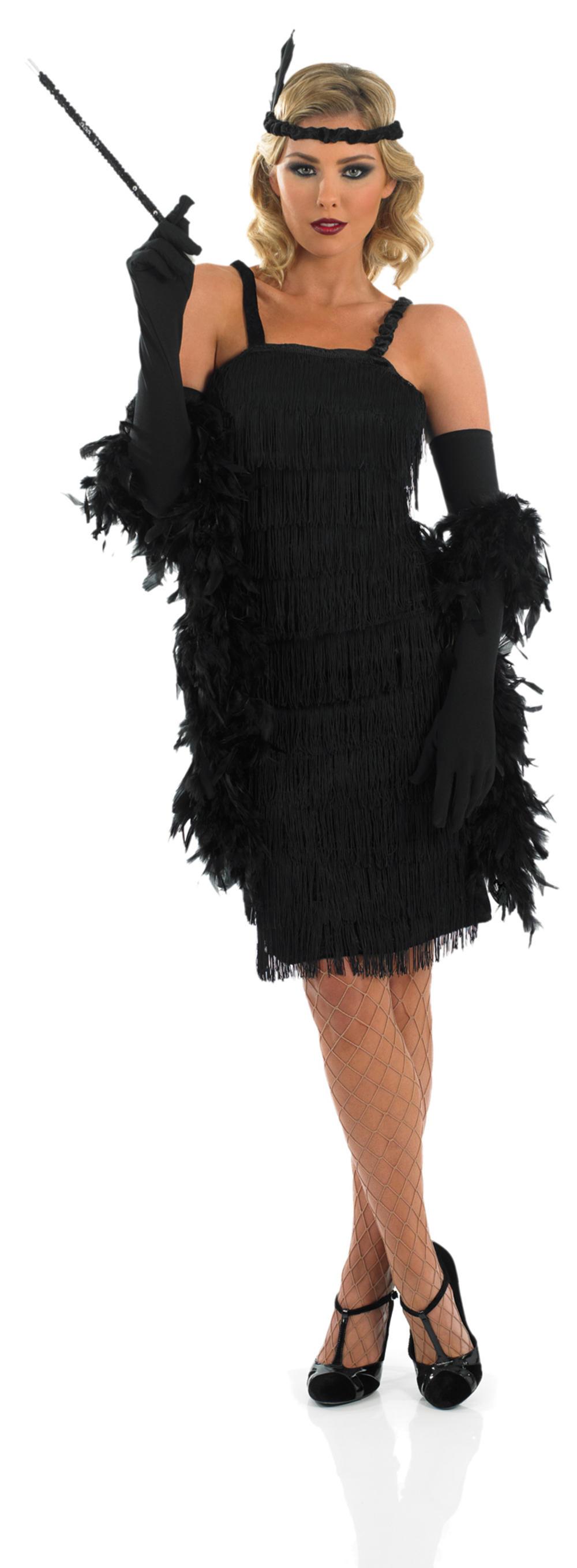 Black 1920s Flapper Dress Charleston Ladies Fancy Dress 20s Costume Outfit 8-30