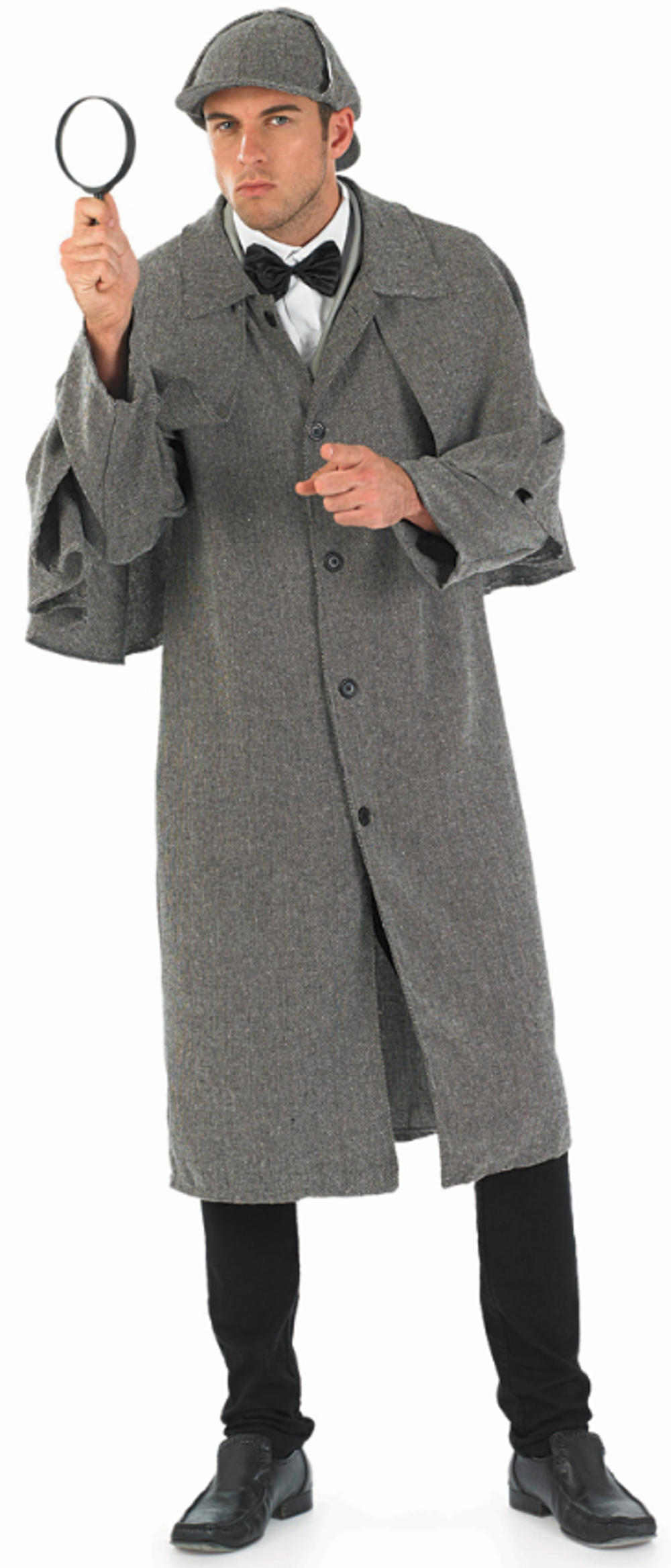 Sherlock Holmes Mens Costume + Hat Victorian Detective Adults Fancy Dress Outfit