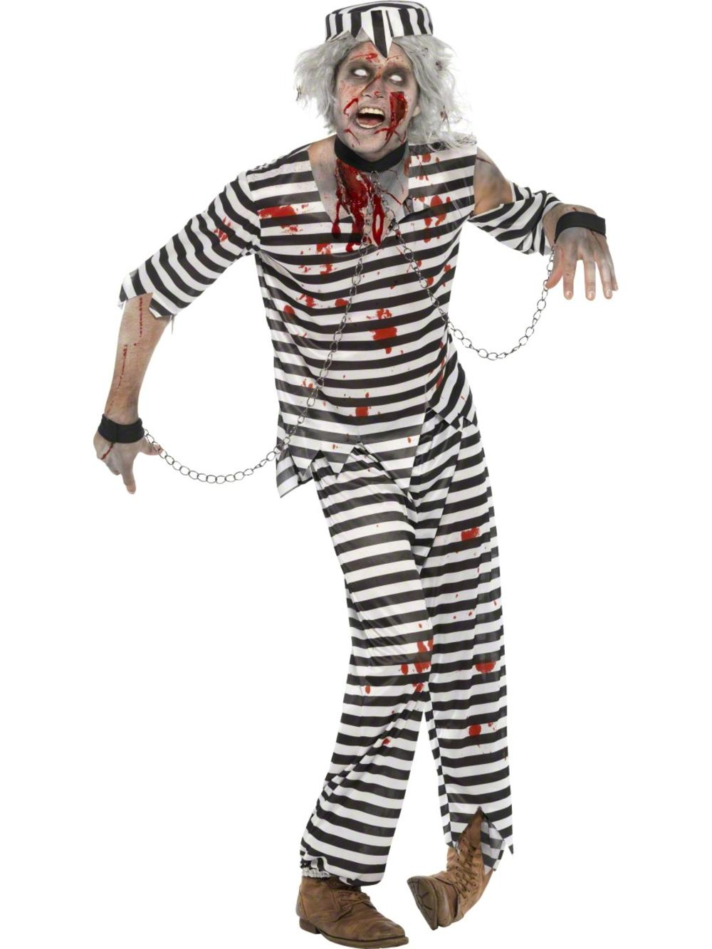 Zombie Convict Mens Halloween Prisoner Uniform Fancy Dress Adults Costume Outfit
