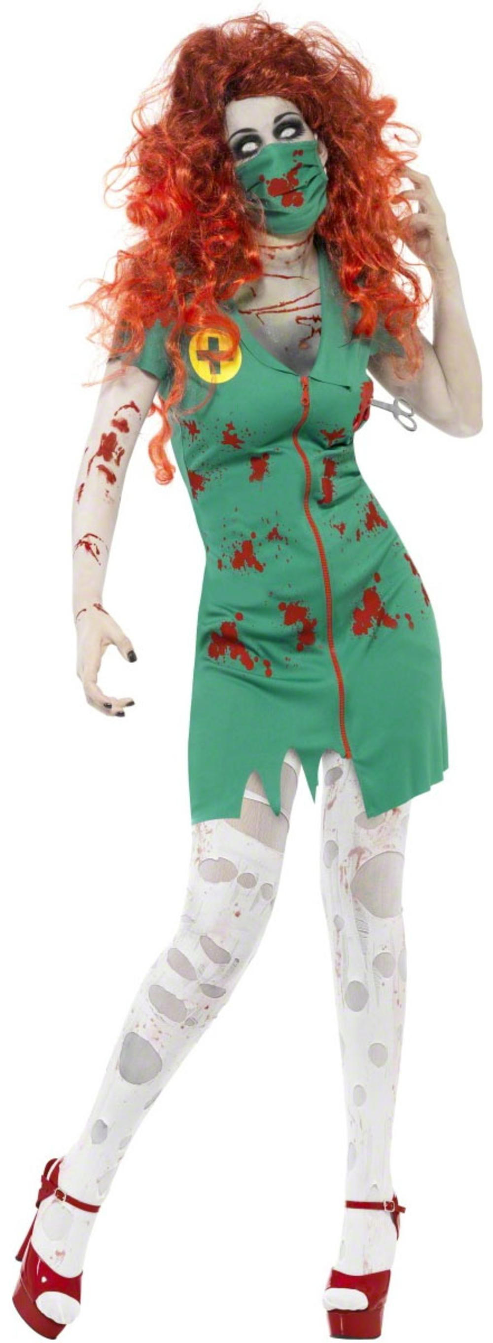Zombie Scrub Nurse + Mask Ladies Fancy Dress Halloween Womens Uniform Costume
