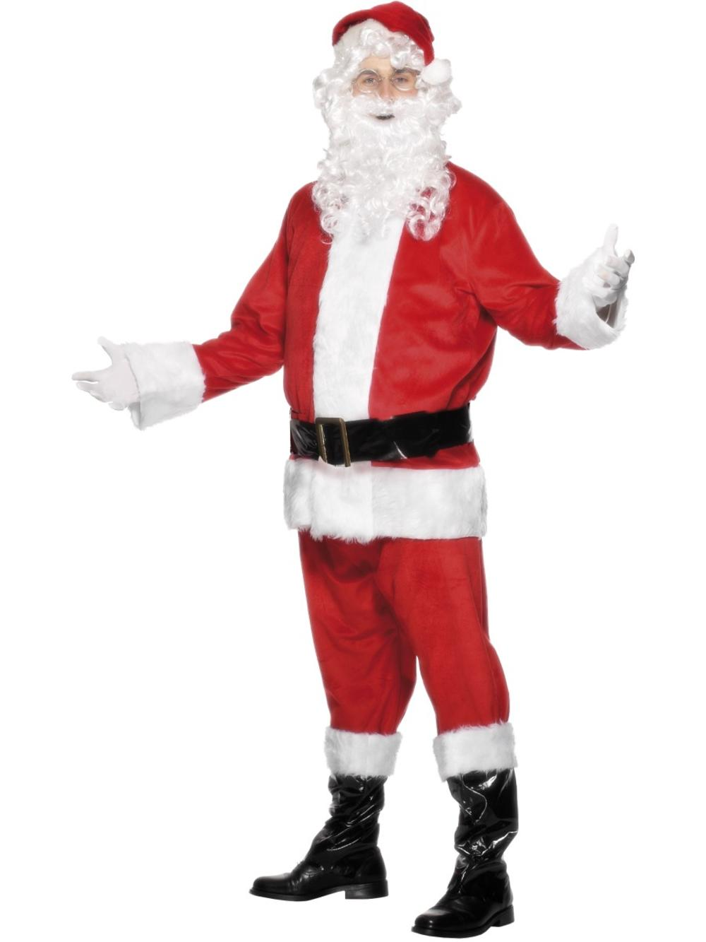 Velour Santa Claus Mens Fancy Dress Father Christmas Adults Festive Xmas Costume