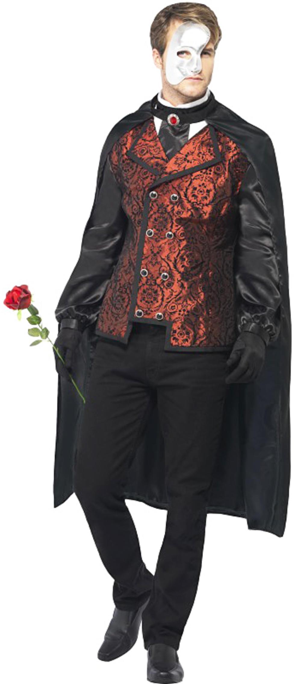 Dark Opera Masquerade Mens Fancy Dress Halloween Adult Horror Costume + Mask New