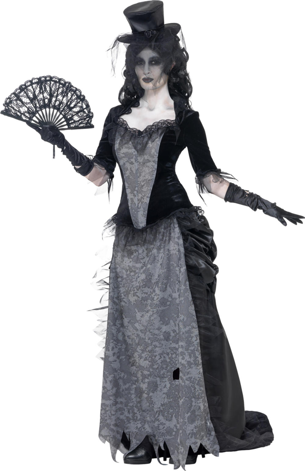 Victorian Widow Ghost Ladies Fancy Dress Halloween Undead Womens Adults Costume