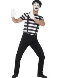 Mime Artist Mens Fancy Dress National French Circus Carnival Adults Costume