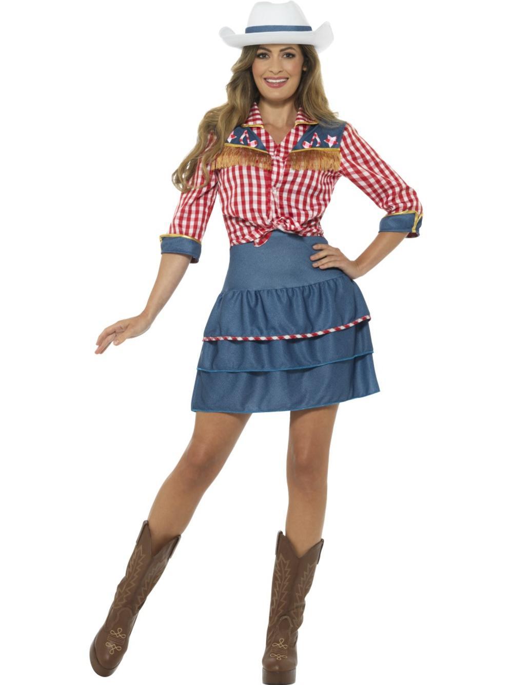 Rodeo Doll Womens Fancy Dress Wild Western Cowgirl Texan Womens Adults Costume