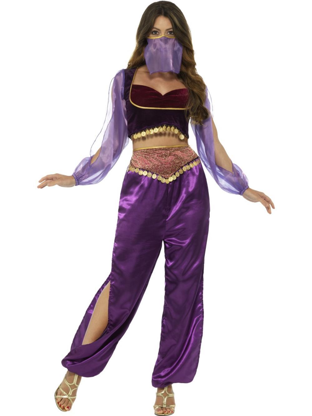 Arabian Princess Ladies Fancy Dress Genie Belly Dancer Womens Adult Costume Set