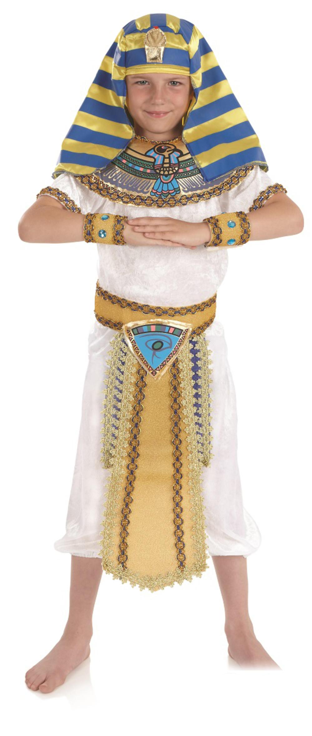 Pharaoh Emperor Boys Egyptian King Fancy Dress Historical Kids Childrens Costume