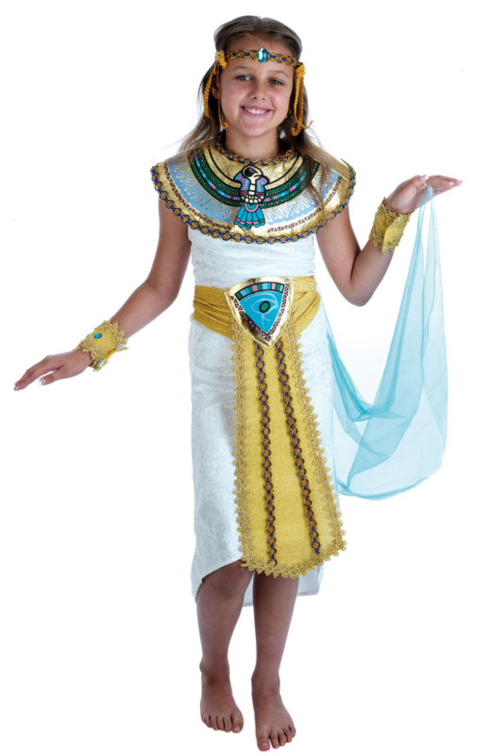 Egyptian Girls Costume Cleopatra Ancient Egypt Kids Fancy Dress Childs Outfit