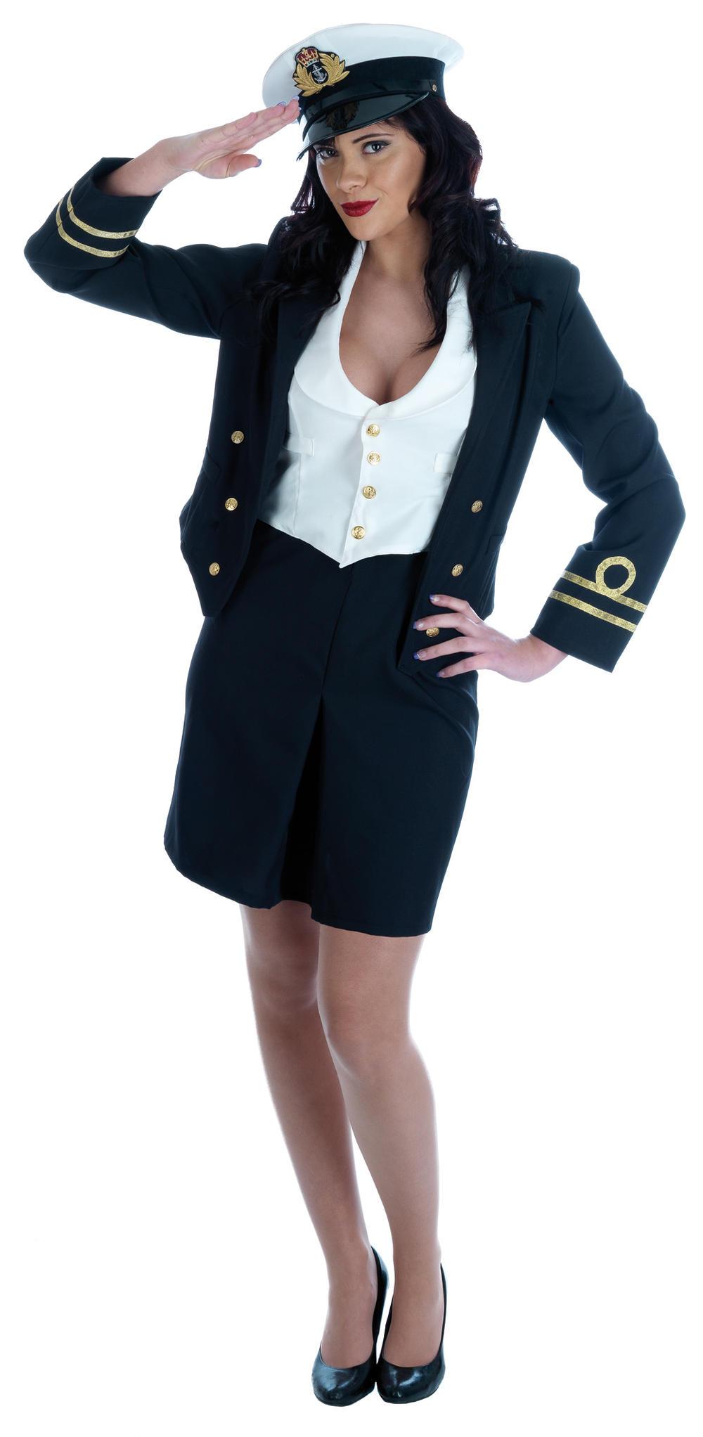 WW2 Navy Officer Ladies Fancy Dress 40s Military Army