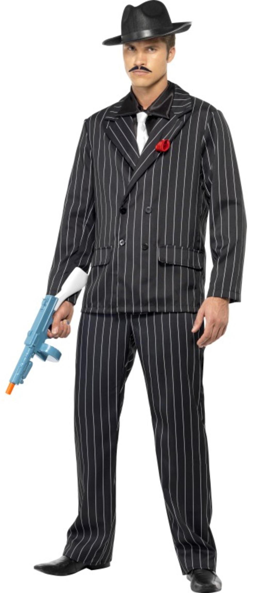 20s Pinstripe Zoot Suit Mens Fancy Dress 1920s Mafia Gangster Adults Costume