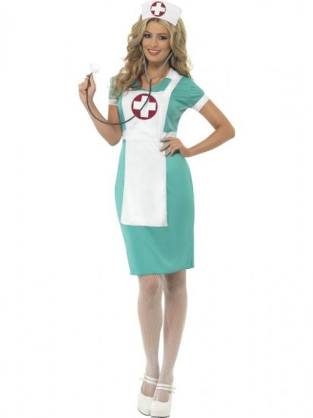 Nurse Costume + Hat Ladies Fancy Dress Uniform Occupations Womens Outfit UK 8-18