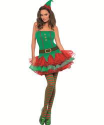 Elf Tutu Dress Ladies Fancy Dress Santas Little Helper Adults Festive Costume