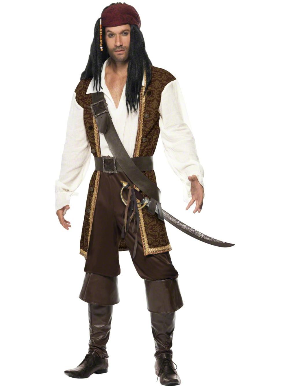 Deluxe High Seas Mens Pirate Fancy Dress Buccaneer Halloween Adults Costume New
