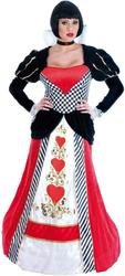 Queen of Hearts Long Deluxe Fancy Dress Fairytale Costume Ladies Womens Outfit