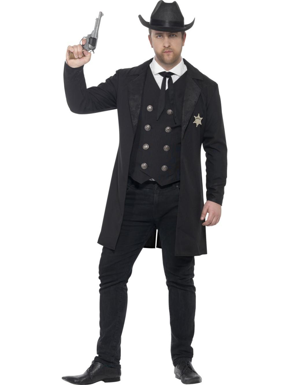 Sheriff Mens Fancy Dress Wild Western Gunslinger Adults Costume Plus Size Outfit