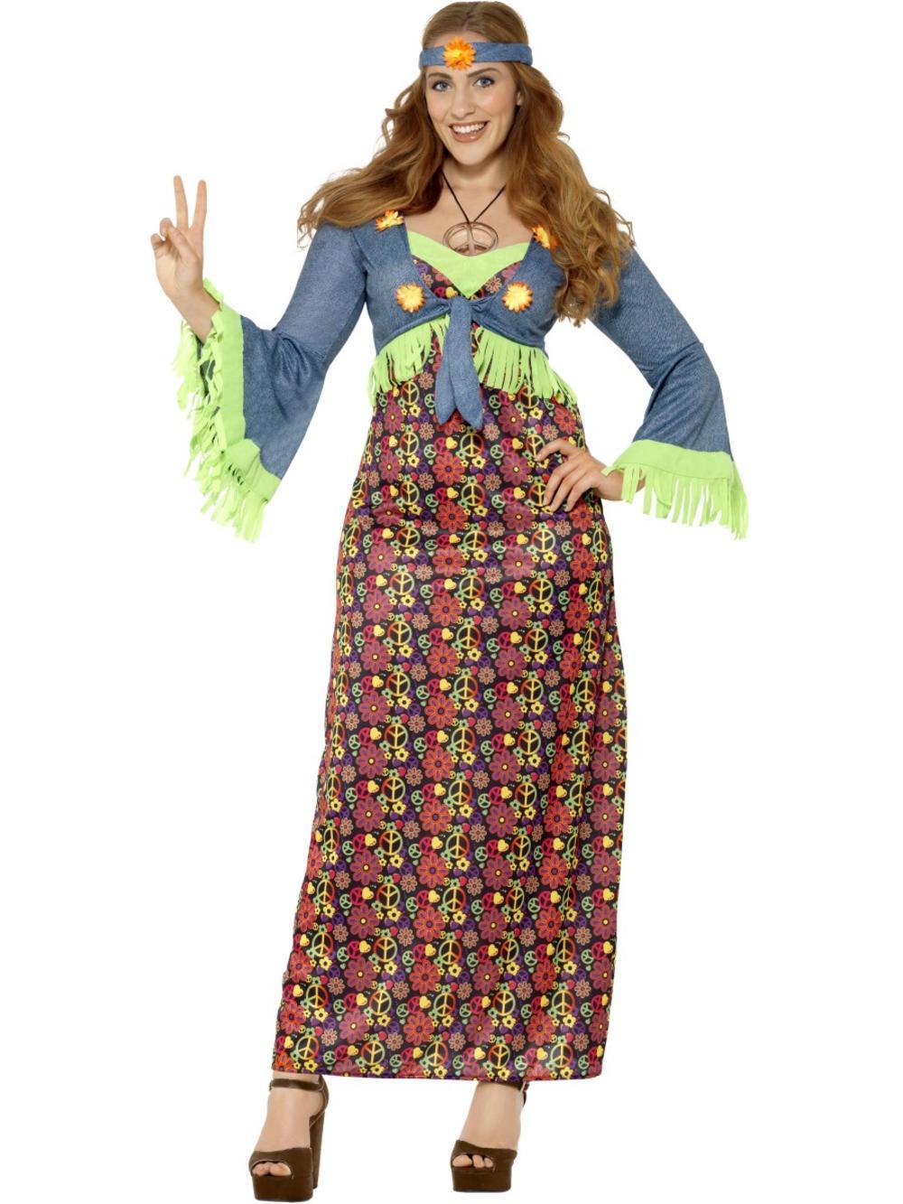 Hippie Ladies Fancy Dress 1970s 60s Hippy Peace Womens Adults Costume Plus Size