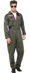 Top Gun Pilot + Glasses Mens Fancy Dress Military 1980s Adults Costume Outfit