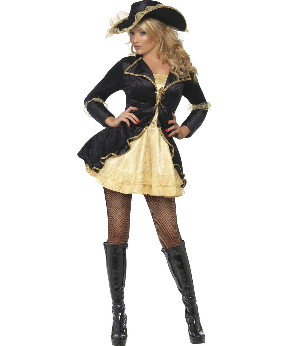 Fever Swashbuckler Pirate Black and Gold Ladies Fancy Dress Costume + Hat New