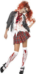 Zombie School Girl Ladies Halloween ancy Dress Adults Womens Uniform Costume