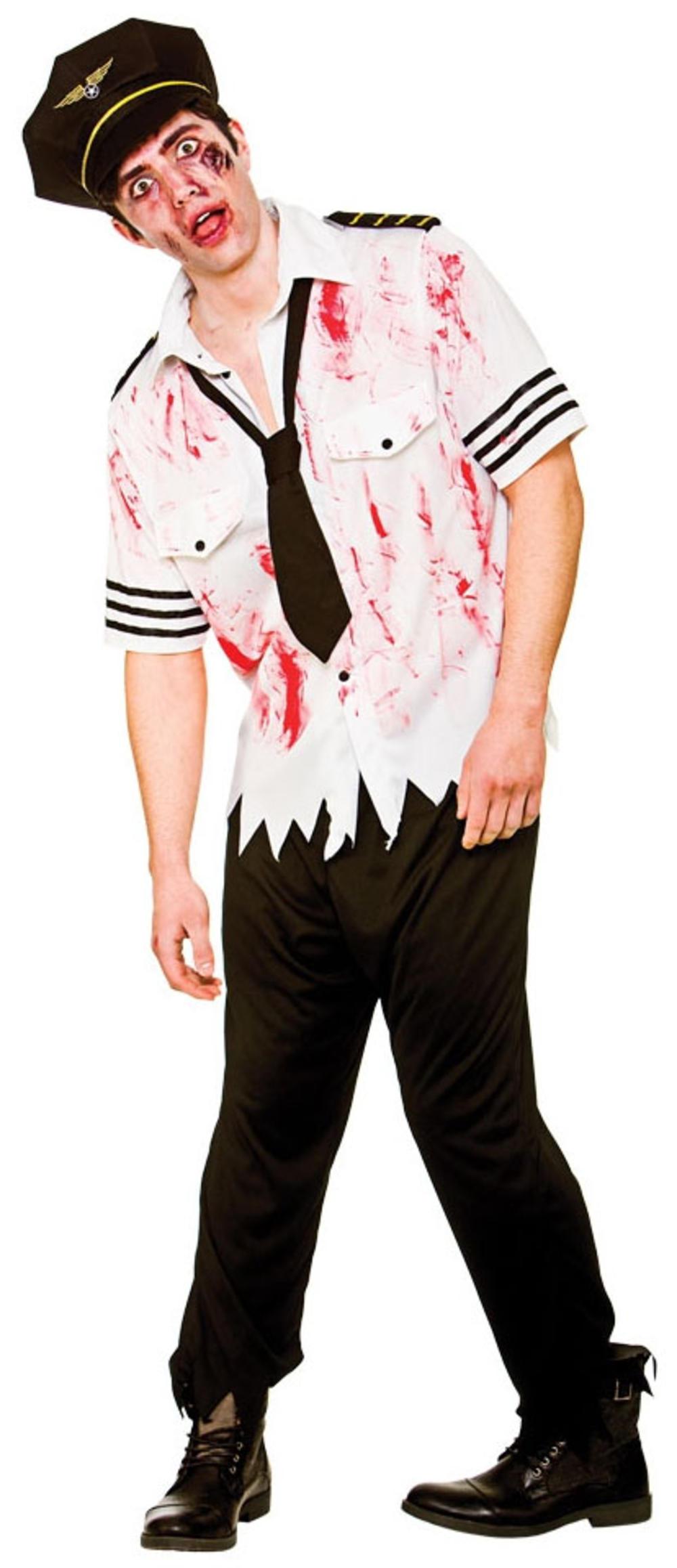 Zombie Airline Pilot Mens Fancy Dress Halloween Undead Uniform Adult Costume New