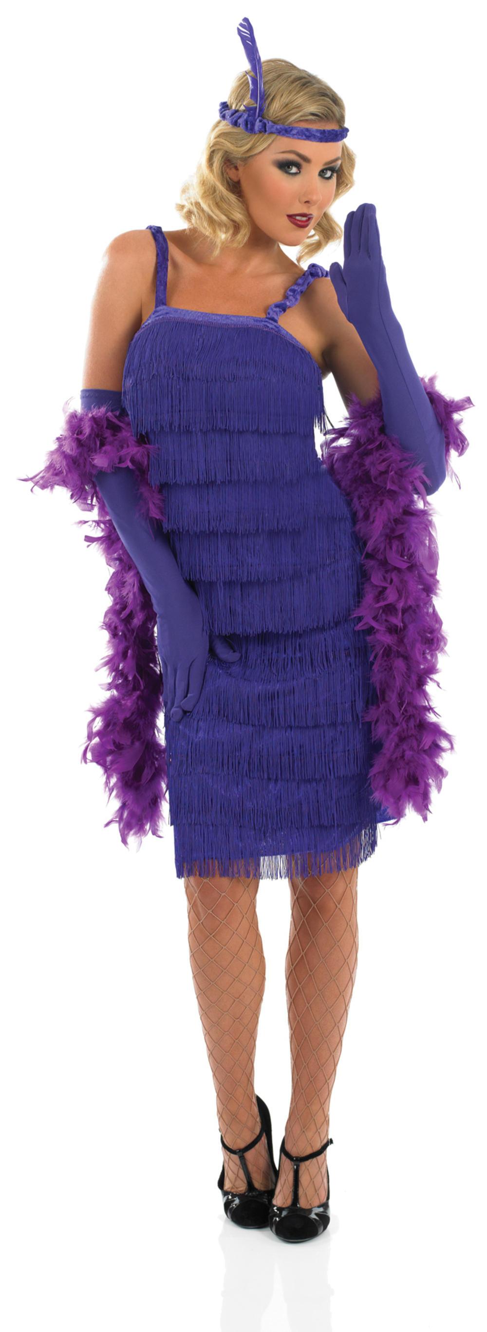 1920s Purple Flapper Ladies Fancy Dress Roaring 20s Gatsby Adults Costume Outfit
