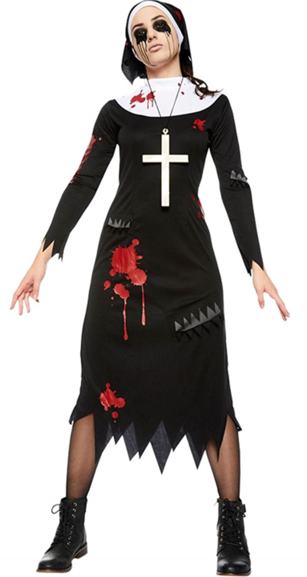 Zombie Nun Ladies Fancy Dress Satanic Sister Halloween Womens Adults Costume New