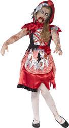 Zombie Red Riding Hood Girls Halloween Fancy Dress Kids Childrens Childs Costume